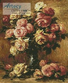 49f862a1474 Roses in a Vase 2 Counted Cross Stitch Pattern http   www.artecyshop