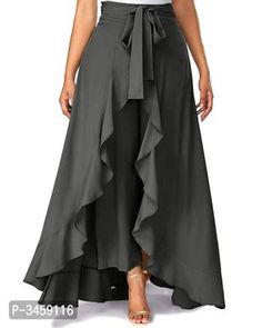 Tie Waist Side Zipper Ruffle Palazzo Pants (in black & gray) Skirt Pants, Dress Skirt, Dress Up, Ruffle Pants, Ruffle Skirt, Skirt Pleated, Chiffon Skirt, Denim Pants, Chiffon Fabric