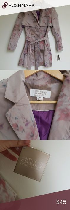 NWT Floral Trench Coat NWT American Glamour Trench Coat Badgley Mischka Size: Medium Badgley Mischka Jackets & Coats Trench Coats