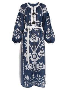 Vita Kin Tree of Life embroidered linen midi dress Boho Style Dresses, Boho Dress, Fashion Dresses, Day Dresses, Blue Dresses, Calf Length Dress, Blue And White Dress, Tie Dress, Dress Codes