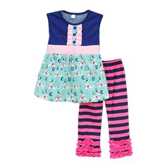 100.00$  Buy now - http://ali07h.worldwells.pw/go.php?t=32660253379 - New Girls Summer Sets Multi-layer Hem Animal Printing Chest Button Decor Blue Striped Pink Ruffle Pants Kids Clothes S078