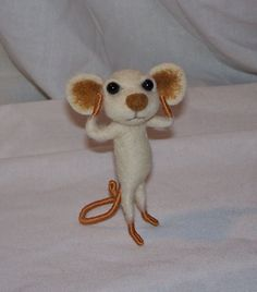 Needle Felted White and Brown Mouse