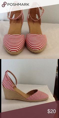 Cute Red and white wedge sandals Red and white sandal with rope wedge- they are in great condition never worn White mountain  Shoes Wedges