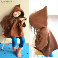2017 Fashion Autumn Cute Girls Coat Outerwear Children Velvet Cloak Kids Hooded Cape
