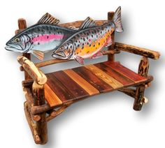 Fish Bench, Trout Bench, Fish Furniture, Fly Fishing, Reclaimed Wood Furniture, Reclaimed Wood Bench, Gift for Trout Fisherman, Woodzy