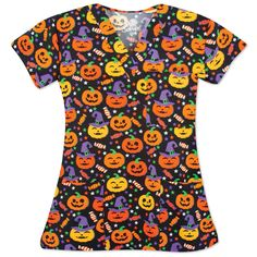 Trick or Treat! Get in the spirit with this Halloween top filled with friendly jack-o'-lanterns print all over on a black background. It features three front patch pockets and has set-in sleeves. Pair with your favorite black or orange scrub pants to complete your look. Halloween Scrubs, Cute Halloween, Orange Scrubs, Coat Sale, Scrub Pants, Scrub Tops, Lady V, Top Sales, V Neck Tops