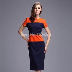 Autumn Women Knit Dress 2015 Slim Sexy Mid-Calf Length Black ladies Round Neck Stripe Half Sleeve Splicing Bodycon Dress S-2XL