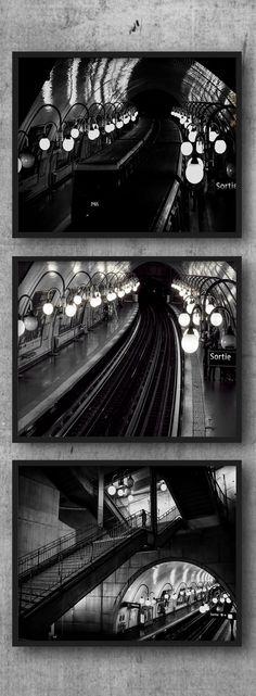 Paris Metro Collection, Black and White Photographs, Subway Train Photo Three Piece Set of 3, Railway Tracks Art, French Underground Picture