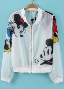 White Long Sleeve Mickey Print Crop Jacket US$24.17