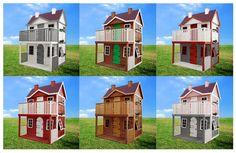 Casita de madera infantil Villa Orleans. Combina los colores a tu gusto.