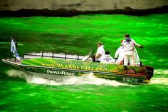 The Chicago River goes Kelly Green for a few hours each March to mark St. Patrick's Day.