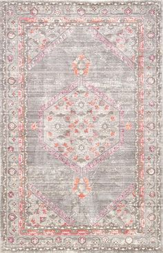 A timeless design meets fresh and fun colors on this antique-inspired power-loomed area rug. Recalling classic Turkish patterns, an elegant medallion motif creates a stunning focal point on this gray and pink accent. Turkish Pattern, Polypropylene Rugs, Rug Store, Pink Rug, Large Rugs, Power Loom, Rugs Online, Jaipur, Timeless Design