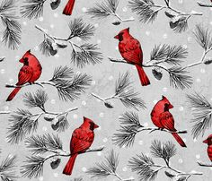 Cardinals in the Snow fabric by pinky_wittingslow on Spoonflower - custom fabric
