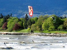 Catching waves on English Bay, Vancouver