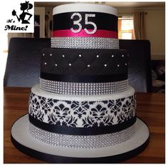 Damask, quilted and diamanté decorated cake