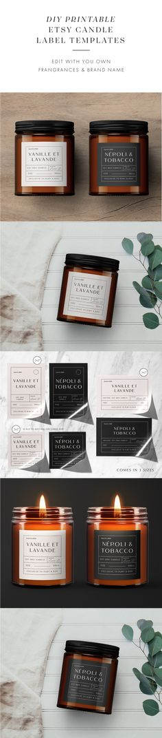 Take your candle products to the next level with these vintage Apothecary Style editable candle label designs. No need for photoshop, simply follow the instructions and edit using the provided link. These vintage style apothecary candle labels are the perfect way to get that chic look! Personalized Candles, Personalized Labels, Custom Labels, Apothecary Candles, Candle Labels, Label Templates, Brochure Template, Label Design, Graphic Design