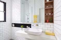 I like this with yellow grout and a more square shaped basin