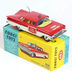 Corgi Toys Fire Chief Chevy Impala extremely rare red door labels - only found with the export Gift Set 14 (FAO Schwarz New York) Metal Toys, Tin Toys, Vintage Models, Vintage Toys, Antique Toys, Corgi Toys, Diecast Models, Classic Toys, Fire Trucks