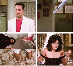 Thanksgiving flashback: Monica flirts with Chandler after Rachel tells her that she has to pretend that everything she holds is sexual. Then, Monica drops a knife by accident, which goes right through Chandler's wicker shoe and cuts off his pinky toe.