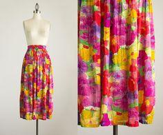 90s Vintage Colorful Floral Print Cotton by ShopCherieVintage