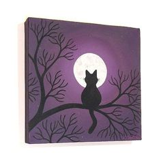 Black Cat Under a Full Moon original painting - acrylic art with the silhouette of a cat sitting in tree branches at night, on square canvas Simple Canvas Paintings, Small Canvas Art, Easy Canvas Painting, Mini Canvas Art, Canvas Canvas, Moonlight Painting, Moon Painting, Painting Art, Painting Tips