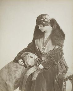 """ Gertie Millar c.1917 "" love that she has a mastiff instead of a 'fashion dog'"