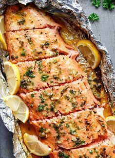 Honey Garlic Butter Salmon In Foil in under 20 minutes, then broiled (or grilled. Honey Garlic Butter Salmon In Foil in under 20 minutes, then broiled (or grilled) for that extra golden, crispy and caramelised finish! So simple and . Salmon Dishes, Seafood Dishes, Seafood Recipes, Cooking Recipes, Healthy Recipes, Grilling Recipes, Garlic Recipes, Fish Dishes, Vegetarian Recipes