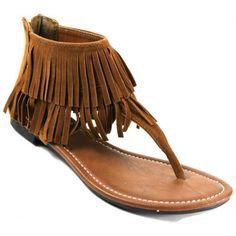 Kali Footwear Women Benefit Tassel Ankle Cuff Flat Tribal Sandal ($15) found on Polyvore featuring shoes, sandals, flat sandals, ankle cuff shoes, tassel shoes, tribal print shoes and tribal shoes