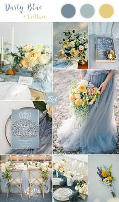 stylish dusty blue and yellow summer wedding colors