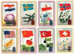 "vintage Coles swap trading cards ""Flags of the World"" Olympics series 3 of 3 pics"