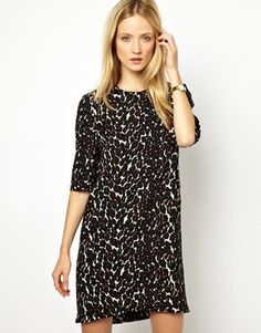 Whistles Sculptured Dress In Leopard Print