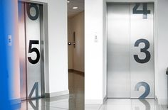 UPC Wayfinding - By BrandLab myfopinion 20 Floor Signage, Wayfinding Signage, Signage Design, Hotel Architecture, Architecture Graphics, Architecture Design, Elevator Design, Elevator Lobby, Lift Design