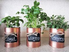 Up-cycle your tin cans into herb planters using a beautiful copper spray paint!  Add some chalkboard tags tied around with twine to label your herbs. | Homey Oh My!