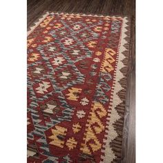 "Loon Peak Azure Hand-Tufted Red Area Rug Rug Size: Runner 2'3"" x 8'"