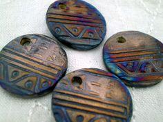 4 Flat Round Raku Beads Ceramic Beads Ethnic by spinningstarstudio