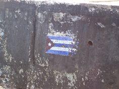 Havana, Cuba March 2008  The Cuban flag.  La bandera cubana.