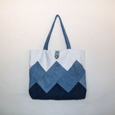 Patchwork denim tote bag patchwork tote patchwork by SewManyScraps