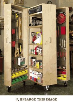 Mobile Tool Cabinet Woodworking Plan, Shop Project Plan | WOOD storage.  diy - get 2-3 bookshelves of same size. Put on heavy duty castors and place  multiple hinges on one side to open and close.