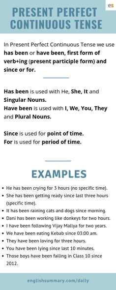 present perfect continuous tense rules and examples Tenses English, English Writing, English Grammar, Teaching English, Tenses Rules, Grammar Rules, Grammar Lessons, English Tips, English Lessons