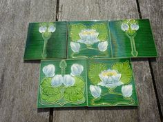 Antique Ceramics, Lovely Set Of Five Arts & Crafts Floral Tiles. Lovely set of five Arts & Crafts tiles depicting three different images of water lilies. Possibly from a Victorian fireplace. Hex Tile, Traditional Tile, Art Nouveau Tiles, Victorian Fireplace, Art Tiles, Art And Craft Design, Water Lilies, Cellar, Plaster