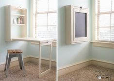 10 cool diy craft table ideas for your craft room Murphy Table, Murphy Desk, Diy Computer Desk, Diy Desk, Craft Room Storage, Cool Diy, Easy Diy, Small Craft Rooms, Space Crafts