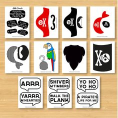 DIY Pirate Photo Booth Props - Moustaches, Beards, Hats, Speech Bubbles - Printable, Digital, Photobooth. $5.00, via Etsy.