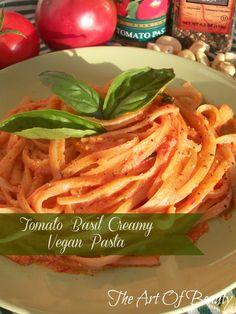 The Art Of Beauty ~ Tomato Basil Creamy Vegan Pasta, So YUMMY! Creamy Vegan Pasta, Pasta Recipes, Vegan Recipes, Vegan Foods, Vegan Ideas, Meatless Recipes, Vegetarian Entrees, Vegan Vegetarian, Raw Vegan