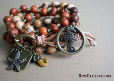 Underwater Fun - Acai Seeds 5 x Wrap Bracelet - seahorse button,  leather and antique bronze spacers- Hawaii, ocean, surf