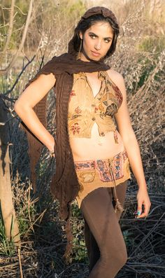 Bohemian Gypsy FestivalTan Corduroy Up Cycled Mini Skirt Belt With Tails And Lace Up Front
