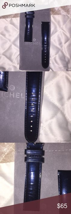 Michele midnight blue authentic leather watch band 18 mm midnight blue patent leather watch band from Michele. I had this with a round faced CSX. Authentic leather. Comes with dust bag. Please see wear in photos Michele Accessories Watches