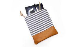An iPad sleeve that doesn't look like an iPad sleeve. Nice... Leather and nautical stripe ipad sleeve, beach fashion, boho chic clutch purse via Etsy