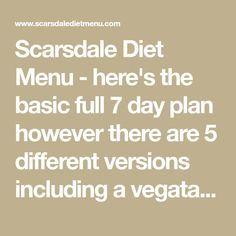 Scarsdale Diet Menu - here's the basic full 7 day plan however there are 5 different versions including a vegatarian version. You don't have to do the same one each time.