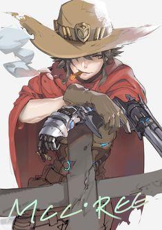 Pixiv Id 2370328, Overwatch, McCree (Overwatch), Revolver, Cigar, Cowboy Hat