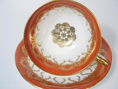 Aynsley Tea Cup and Saucer Set Burnt Orange and Gold